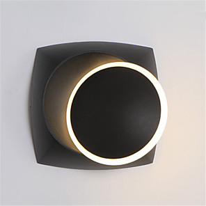 abordables Luces de Pared Interior-nordic simple led wall lamp quare bedside eclipse wall lamp 360 rotación black and white decoration living room background wall escalera lámpara