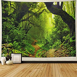 cheap Wall Tapestries-mistry forest tapestry magical nature green tree wall tapestry rainforest landscape tapestry wall hanging bohemian psychedelic tapestry for bedroom living room dorm