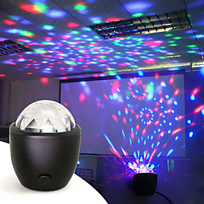 cheap Projectors-Disco Ball Party Stage Projector Lights Mini Led Voice Activated USB Crystal Magic Ball Flash DJ Lights for Home KTV Bar Car