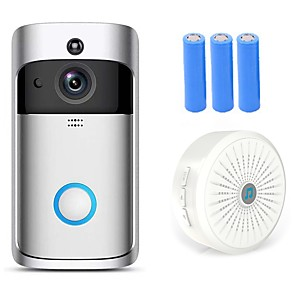 cheap Doorbell Systems-HQCAM Smart Wireless Video Doorbell Wifi doorbell Camera Intercom Door Bell Video doorbel Call For Apartments IR Alarm Max support 32G TF+3pcs 18650 battery 1 mp IP Camera Indoor Support 0 GB