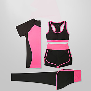 cheap Running & Jogging Clothing-Women's Full Zip Activewear Set Workout Outfits Athletic Long Sleeve 4pcs Lightweight Breathable Quick Dry Fitness Gym Workout Running Active Training Jogging Sportswear Outfit Set Clothing Suit