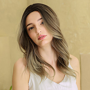 cheap Synthetic Trendy Wigs-Cosplay Costume Wig Synthetic Wig Ombre Wavy Natural Wave Middle Part Side Part Wig Long Ombre Brown Synthetic Hair 22 inch Women's Cosplay Fashion Middle Part Brown BLONDE UNICORN