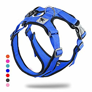 cheap Dog Collars, Harnesses & Leashes-soft dog vest harness no pull small pet vest harnesses with mesh padded reflective adjustable pet vest easy control step-in pet harnesse or puppy small medium dogs (m,blue)
