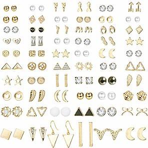 cheap Accessories-60 pairs stud earrings for women men triangle square circle bar star moon geometric leaf arrow bow cz ball faux pearl earrings set