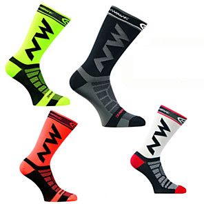 cheap Cycling Socks-Men's Women's Cycling Socks Compression Socks Windproof Breathable Quick Dry Black Green / Yellow Black / Yellow Winter Road Bike Mountain Bike MTB Running Stretchy / Road Bike Cycling