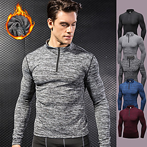 cheap Running & Jogging Clothing-YUERLIAN Men's Half Zip Compression Shirt Running Shirt Athletic Long Sleeve Fleece Thermal Warm Breathable Quick Dry Fitness Gym Workout Performance Running Training Sportswear Solid Colored Tee