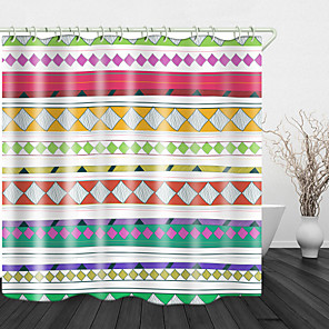 cheap Shower Curtains-Simple Ethnic style Print Waterproof Fabric Shower Curtain for Bathroom Home Decor Covered Bathtub Curtains Liner Includes with Hooks