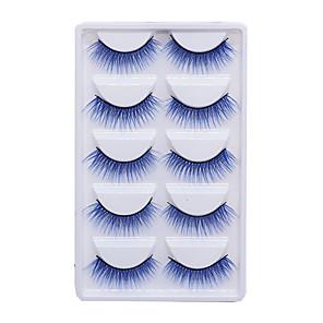 cheap Human Hair Wigs-5 Pairs/set Color Chemical Fiber False Eyelashes Purple Makeup Natural Exaggerated Eyelashes Party Halloween