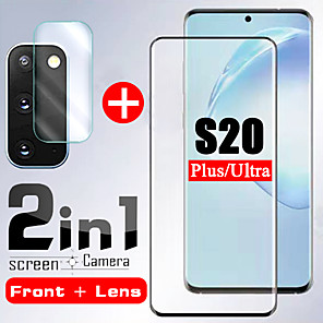 cheap LED String Lights-1/2PCS 2 In 1 Tempered glass For Samsung Galaxy S20 ultra S20 Camera Lens Screen Protector Protective Glass on Samsung S20 Plus glass