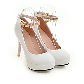 cheap Women's Heels-Women's Heels Pumps Round Toe Sexy Daily Pearl Buckle Solid Colored PU Walking Shoes White / Black / Pink