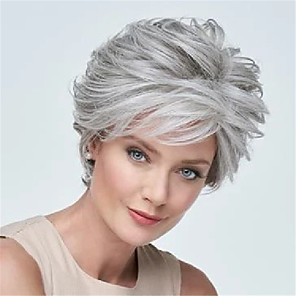 cheap Human Hair Capless Wigs-Synthetic Wig Loose Curl Pixie Cut Wig Short Grey Synthetic Hair 6 inch Women's Fashionable Design Easy to Carry Cool Dark Gray