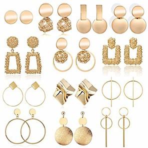 cheap Earrings-13 pairs statement drop dangle earrings, fashion big geometric earrings for women & gold stud hoops earrings for girls, hanging earring set jewelry gifts