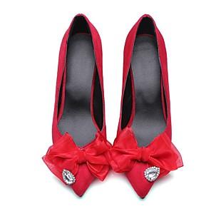 זול נעלי עקב לנשים-בגדי ריקוד נשים עקבים עקב קצר בוהן מחודדת מתוק יומי ריינסטון פפיון פרחוני עור נובוק הליכה שחור / אדום / ירוק