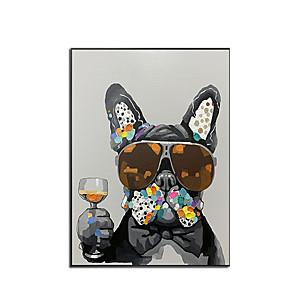 저렴한 동물화-100 % 손으로 그린 현대 개 유화 압연 캔버스 벽 예술에 현대 장식 작품 홈 장식 벽 장식에 매달려 준비