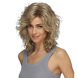 cheap Synthetic Trendy Wigs-Synthetic Wig Curly Asymmetrical Wig Short Blonde Synthetic Hair 14 inch Women's Classic Exquisite Fluffy Blonde