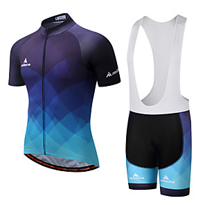 cheap Anime Costumes-Miloto Men's Short Sleeve Cycling Jersey with Bib Shorts Spandex White Black Purple Plaid Checkered Gradient Bike Clothing Suit Breathable 3D Pad Quick Dry Reflective Strips Sweat-wicking Sports