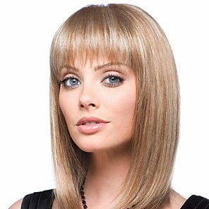cheap Human Hair Capless Wigs-Human Hair Blend Wig Medium Length Natural Straight Bob With Bangs Blonde Women Easy dressing New Capless Women's Medium Auburn / Bleach Blonde 14 inch