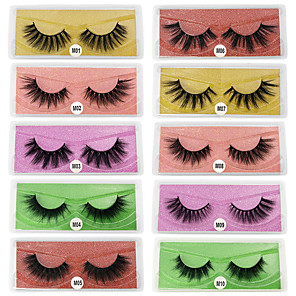 cheap Synthetic Trendy Wigs-3D False Eyelashes 10 Pairs Base Card Natural Thick Eyelashes Cosmetic Grooming Supplies Party Halloween