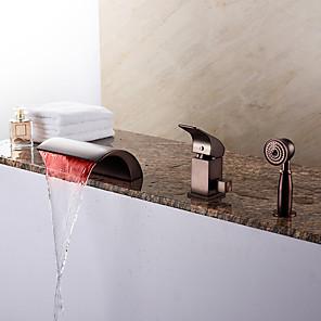 cheap LED Strip Lights-Bathtub Faucet - Contemporary Oil-rubbed Bronze Roman Tub Ceramic Valve Bath Shower Mixer Taps / Brass / Single Handle Three Holes