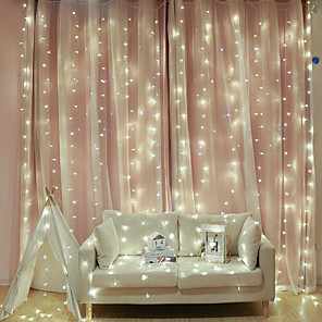 cheap LED String Lights-2x2m LED Curtain Fairy Lights Christmas Tree Decoration LED Patio Party Wedding Window Bedroom Outdoor String Lights for New Year Holidays