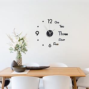 cheap Wall Clocks-3D DIY Wall Clock Frameless Mirror Wall Sticker Home Decor for Living Room Bedroom