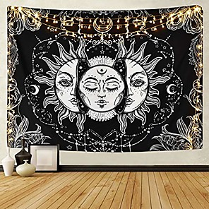 cheap Dreamcatcher-sun and moon tapestry black and white burning sun with stars tapestry psychedelic tapestry indian tapestry for room