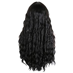 Χαμηλού Κόστους Συνθετικές περούκες χωρίς σκουφί-Συνθετικές Περούκες Κυματιστό Τέλειες αφέλειες Με αφέλειες Περούκα Μακρύ Μαύρο Συνθετικά μαλλιά 30 inch Γυναικεία Μοδάτο Σχέδιο Πάρτι Πανέμορφος Μαύρο