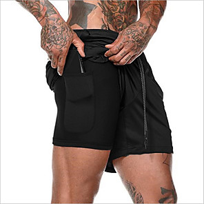 cheap Running & Jogging Clothing-Men's Active Basic Outdoor Sports Activewear Outdoor Shorts Pants Solid Colored 2 in 1 Fake two piece Drawstring White Black Army Green M L XL