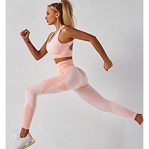 cheap Women's Yoga Suits-Women's 2pcs Yoga Suit Summer Seamless Removable Pad Wireless Black Pink Nylon Fitness Gym Workout Running High Waist Cropped Leggings Bra Top Sport Activewear Tummy Control Butt Lift Moisture