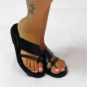cheap Women's Sandals-Women's Sandals Flat Heel Open Toe Casual Daily Home Faux Leather Black