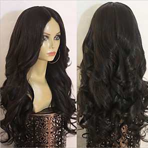 cheap Synthetic Trendy Wigs-Synthetic Wig Body Wave Middle Part Wig Very Long Black Synthetic Hair 28 inch Women's Classic Middle Part Exquisite Black