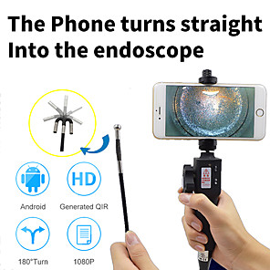 cheap CCTV Cameras-180-degree curved endoscope high-definition camera car engine carbon deposit repair air conditioning maintenance 8.5 mm retractable endoscope 1m hard line