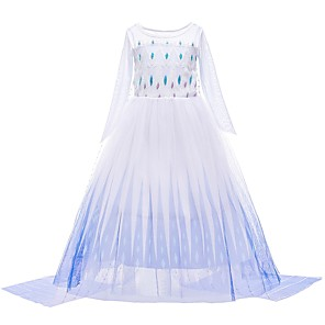 cheap Movie & TV Theme Costumes-Princess Elsa Dress Flower Girl Dress Girls' Movie Cosplay A-Line Slip Cosplay White Dress Halloween Carnival Masquerade Tulle Polyester