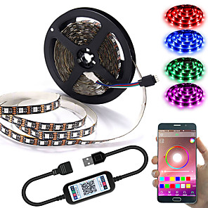 cheap LED Strip Lights-App Intelligent Control Bluetooth Mesh Smart Led Lights Strip 1M 2M 3M 4M 5M 5050 RGB SMD 30 LEDs Per Meters with IR 24 Key Controller USB Port DC5V