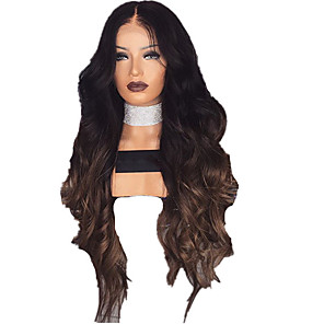 cheap Tattoo Stickers-Synthetic Wig Curly Body Wave Middle Part Wig Long Natural Black Synthetic Hair 28 inch Women's Fashionable Design Ombre Hair Middle Part Black