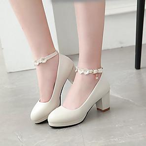 cheap Wedding Shoes-Girls' Heels Novelty / Flower Girl Shoes / Children's Day Microfiber Big Kids(7years +) Buckle / Flower Black / Pink / Beige Spring / Fall