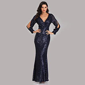 cheap Evening Dresses-Mermaid / Trumpet Sexy Sparkle Party Wear Formal Evening Dress V Neck Long Sleeve Floor Length Sequined with Sequin 2020
