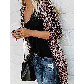 cheap Bathroom Gadgets-Women's Open Front Spring Jacket Long Leopard Print Long Sleeve Brown S M L / Fall
