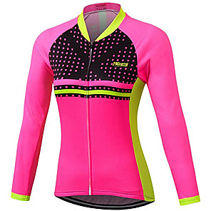 cheap Softshell, Fleece & Hiking Jackets-21Grams Women's Long Sleeve Cycling Jacket Fuchsia Novelty Bike Jersey Top Mountain Bike MTB Road Bike Cycling UV Resistant Breathable Quick Dry Sports Clothing Apparel / Stretchy