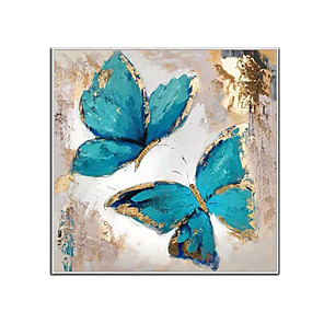 cheap Oil Paintings-100% Hand Painted Contemporary Blue Butterfly Oil Paintings Modern Decorative Artwork on Rolled Canvas Wall Art Ready to Hang for Home Decoration Wall Decor