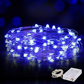cheap LED String Lights-10m String Lights 100 LED Warm White White Blue Waterproof Wire Fairy String Lights for Christmas Wedding Home Holiday Party Room Outdoor Decoration