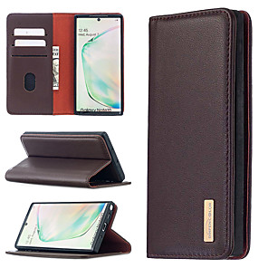 cheap Samsung Case-Case For Samsung Galaxy A01 A21S A21 A31 A41 A51 A71 Note 10 10 Plus 20 20Ultra Galaxy A41 Card Holder Shockproof with Stand Full Body Cases Solid Colored Genuine Leather TPU