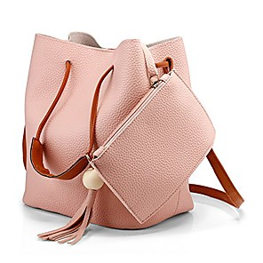 cheap Handbag & Totes-fashion tassel buckets tote handbag, women messenger hobos shoulder bags, crossbody satchel bag- light pink