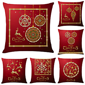cheap Cushion Covers-1 Set of 6 pcs Christmas Series Decorative Linen Throw Pillow Cover 18 x 18 inches 45 x 45cm For Home Decoration Christmas Decoration