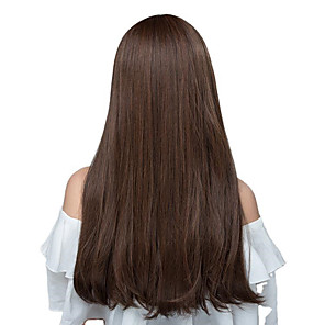 cheap Synthetic Trendy Wigs-Synthetic Wig kinky Straight Natural Straight Neat Bang Wig Dark Brown Synthetic Hair Women's Fashionable Design Natural Hairline Dark Brown