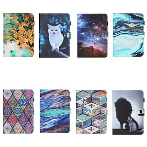 cheap iPad case-Case For Apple iPad Air3 10.5 10.2 2019 9.7 2017 2018 iPad Mini 12345 Wallet Card Holder with Stand Full Body Cases sky Animal Marble PU Leather