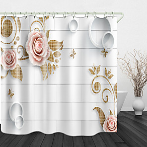cheap Shower Curtains-Simple White Flower Digital Printed Shower Curtain English Green Leaf Digital Printing Shower Curtain Shower Curtains & Hooks Modern Polyester New Design