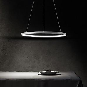 povoljno Dizajn kruga-1-svjetlo vodeno privjesak 40cm 60cm 80cm aluminijski akrilni krug zlatno bijelo crno obojene završne obloge zatamnjivanje za kućnu kuhinju spavaća soba 25w 38w 50w