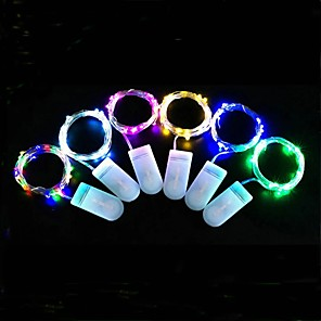 cheap LED Strip Lights-LED Fairy Lights 2m 20 LEDs 30pcs Silver Wire Decorative String Lights Button Battery LED String Light Christmas Tree Wedding Party Gift 15pcs 10pcs