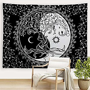"cheap Wall Tapestries-trippy sun and moon tapestries bohemian hippie black and white tapestry psychedelic yin yang wall art tree of life wall hanging blanket bedspread table cloth for bedroom dorm 80"" w x 60""l"